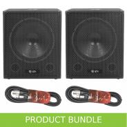 """QTX 15"""" 600W Active Subwoofer & Cables Bundle"""