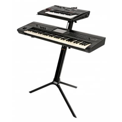 Quik Lok Slim White Aluminium Dual Tier Keyboard Slant