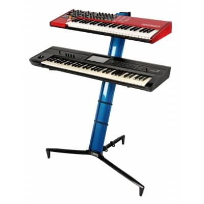Quik Lok Tower Black Aluminium Dual Tier Keyboard Slant