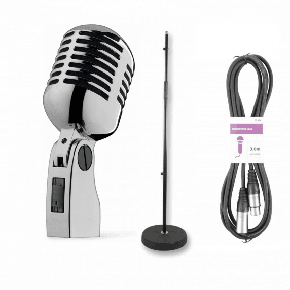 Retro 50's Mic Performance Bundle with Classic Stand and Cable