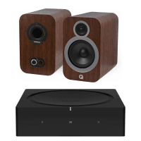 Sonos AMP with Q Acoustics 3030i Bookshelf Speakers - English Walnut