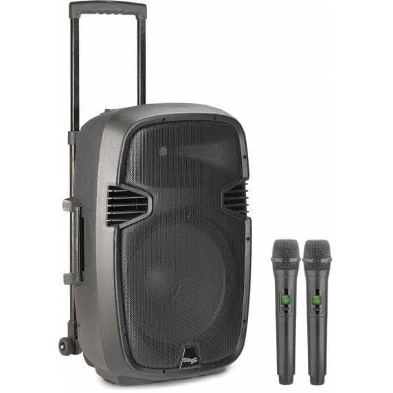 "Stagg RE-VOLT12U 12"" Active PA Speaker w/ 2 Wireless Mics & Bluetooth"