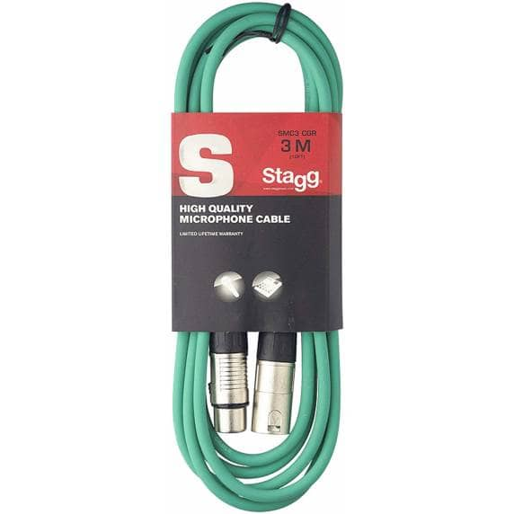 Stagg SMC3 3m XLR to XLR Microphone Cable - Green