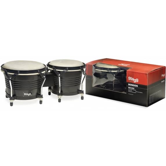 "Stagg Wooden Bongos, 6.5"" + 7.5"" Black Finish"