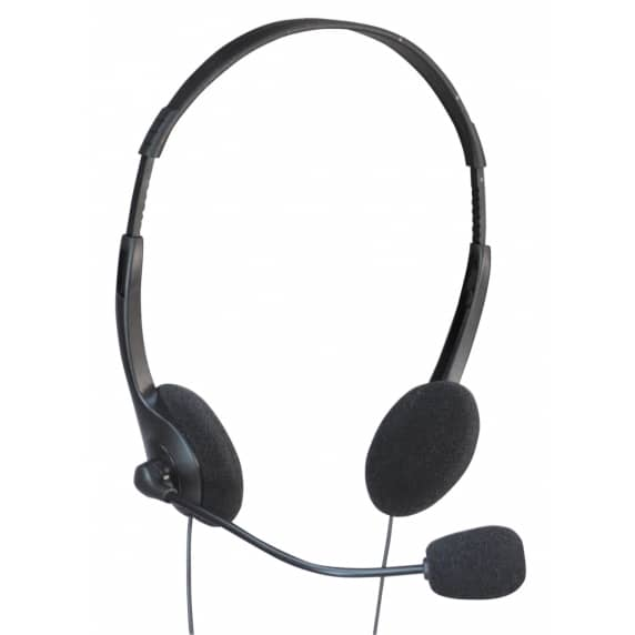 Stereo Headphones With Boom Mic & Volume Control