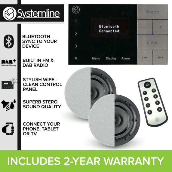 Systemline E100 DAB/FM/Bluetooth System with 2x Ceiling Speakers
