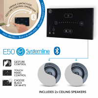 Systemline E50 (Black) Bluetooth Music System with 2x Premium Ceiling Speakers
