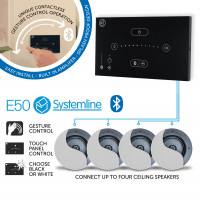 Systemline E50 (Black) Bluetooth Music System with 4x Premium Ceiling Speakers