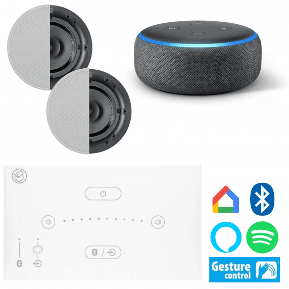 Systemline E50 - Two Speaker Bluetooth Music System with Echo Dot (Amazon Alexa)