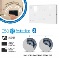 Systemline E50 (White) Bluetooth Music System with 2x Premium Ceiling Speakers