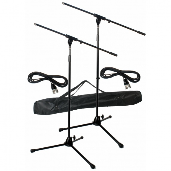 Twin Microphone Stand Kit inc 2x 6m XLR Leads & Carry Case