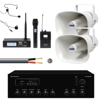 Inta Audio Two Speaker Outdoor PA System with Wireless Mic & Weatherproof Horns