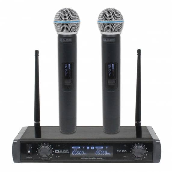 W Audio TM 80 Twin Handheld Wireless Mic System (863.5Mhz/865.0Mhz)