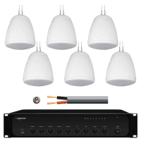 Inta Audio Warehouse Music System with 6x 32W Pendant Speakers (White)