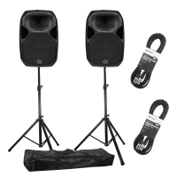 Wharfedale Pro Titan AX15 Active PA Speakers with Stands (Pair)